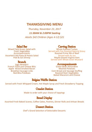 Thanksgiving Family Menu