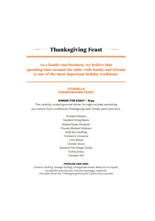 Thanksgiving Feast Menu