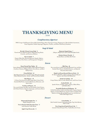 Thanksgiving Menu Example