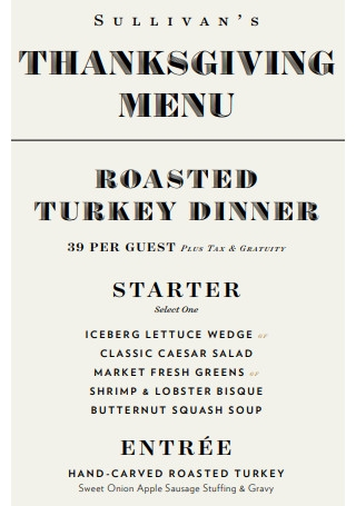 Thanksgiving Menu Sample