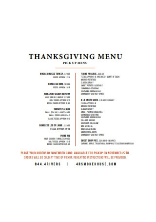 Thanksgiving Pick Up Menu