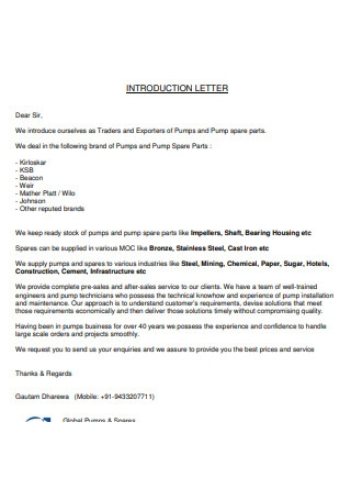 Traders Introduction Letter
