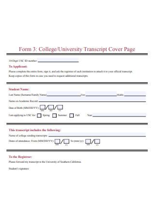 Transcript Cover Page
