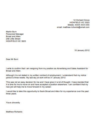 Two Weeks Resignation Notice