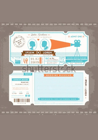 Vector Movie Ticket Wedding Invitation InDesign