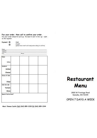 Weekly Restaurent Menus