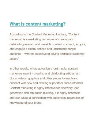 What is Content marketing Sample