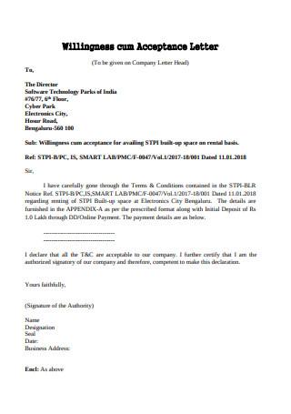 Willingness Cum Acceptance Letter