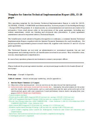 nterim Technical Implementation Report