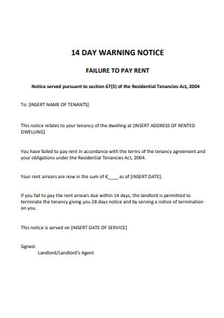 14 Day Warning Notice