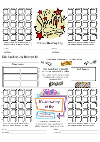 20 Hour Reading Log