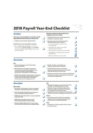 2018 Payroll Year End Checklist