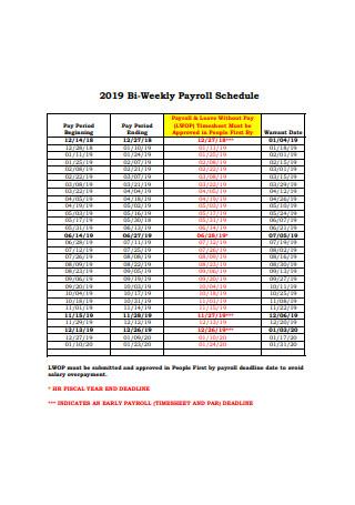 2019 Bi Weekly Payroll Schedule