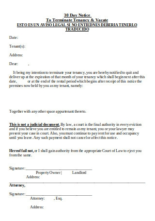 30 Day Notice Eviction Form