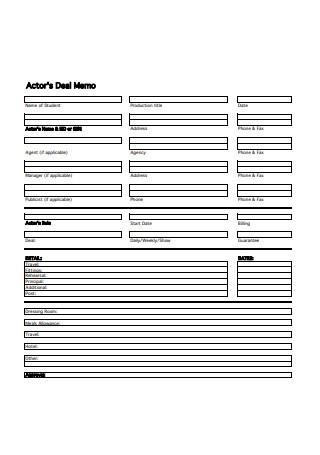 Actor Deal Memo