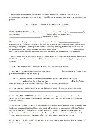 Actor Employment Agreement