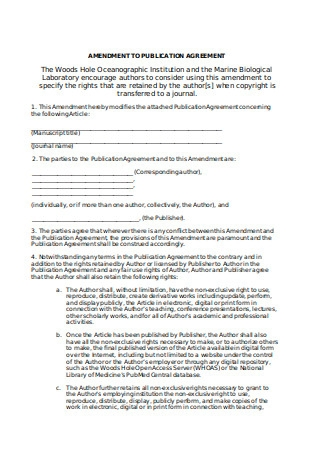 Addendum Amendment to Publication Agreement