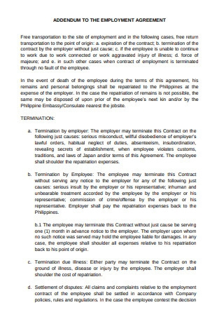 Addendum to Contract of Employment