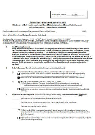 Addendum to Contract of Sale