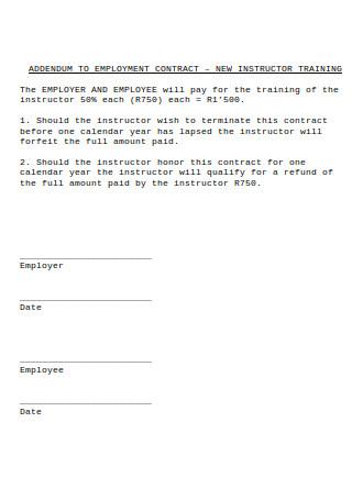 Addendum to Employment Contract