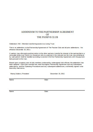 Addendum to Partnership Agreement