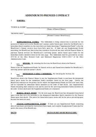 Addendum to Preneed Contract