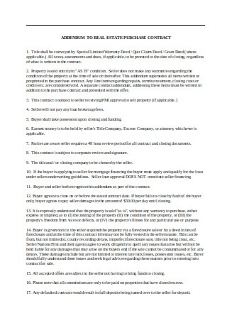 Addendum to Real Estate Purchase Contract