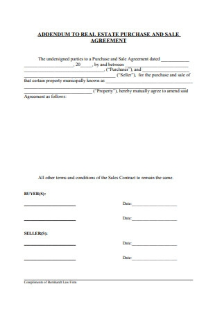 Addendum to Real Estate Purchase and Sale Agreement