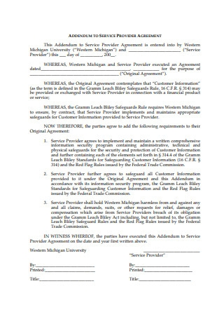 Addendum to Service Provider Agreement
