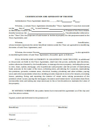 Addendum to Trust Agreement