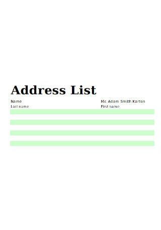 Address List Sample