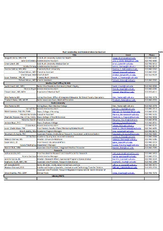 Administration Contact List