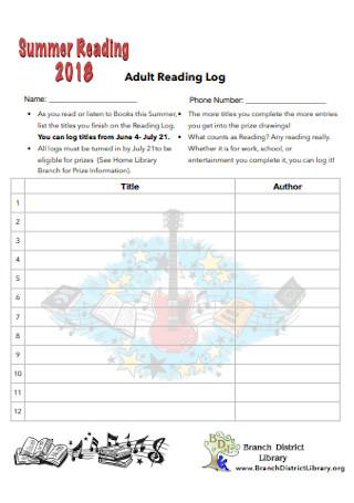 Adult Reading Log
