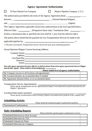 Agency Agreement Authorization