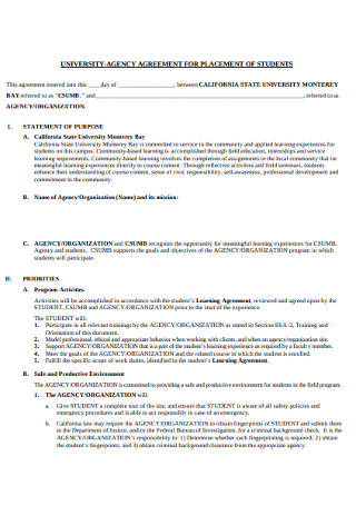 Agency Agreement for Placements of Students