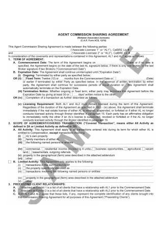 Agent Commission Sharing Agreement
