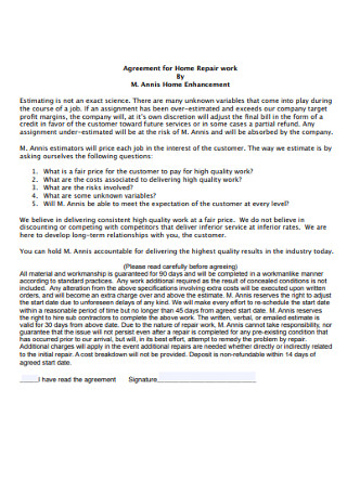 Agreement for Home Repair work