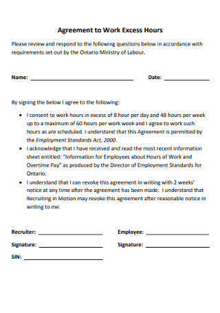 Agreement to Work Excess Hours