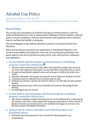 Alcohol Use Policy