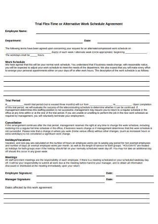 Alternative Work Schedule Agreement