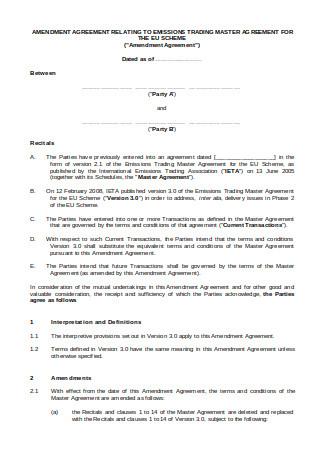 Amendment Agreement