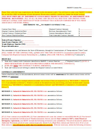 Amendment Contract Form