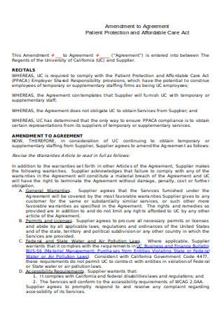 Amendment to Agreement