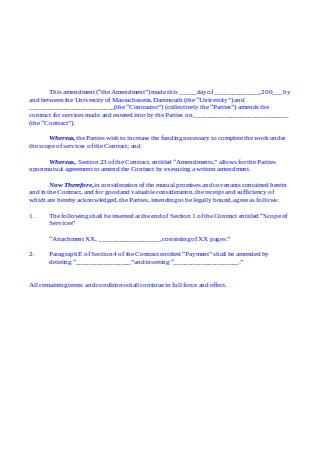 Amendment to Amount Contract