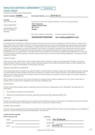 Analysis Service Agreement