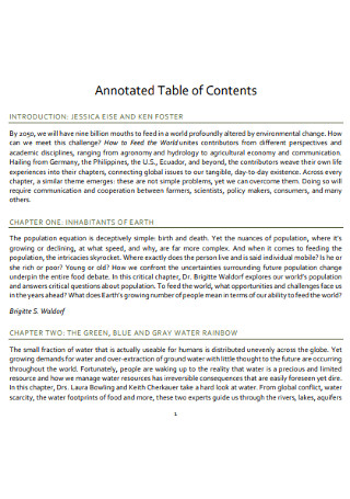 Annotated Table of Contents