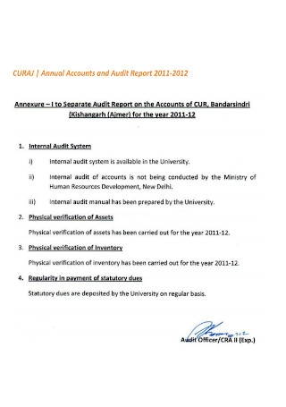 Annual Audit Report on Accounts