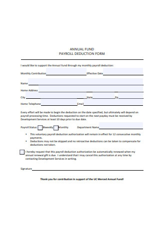 Annual Fund Payroll Deduction Form