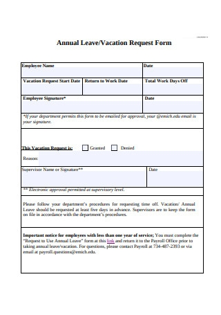 Annual LeaveVacation Request Form