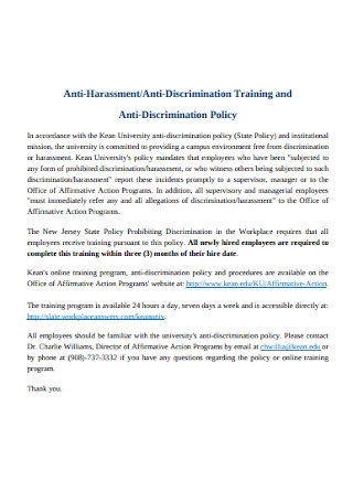 Anti discrimination Training and Policy